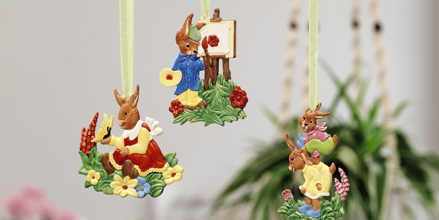 Nostalgic Easter decorations - Colourful and hand-painted on both sides, they'll look great on any Easter shrub!