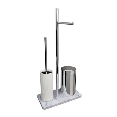 Free standing toilet brush/paper holder Equilibrium Ribs White mat Chrome