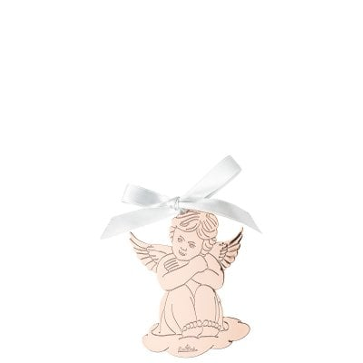 Pendantif ange assis 8,5x6 cm Silver Collection Angels Rose Gold