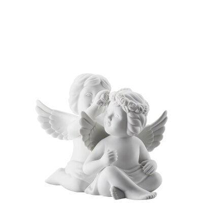 Pair angels w.wreath Angel middle White-mat