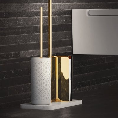 Free standing toilet brush/paper holder Equilibrium Ribs White mat Gold
