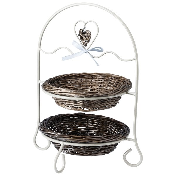 Etagere with 2 baskets Decoration series Metall/Korb grau