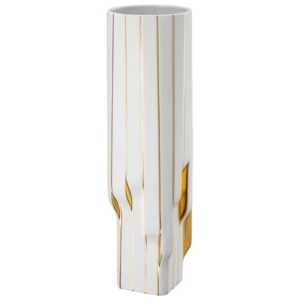 Vase 45 cm Strip White - gold