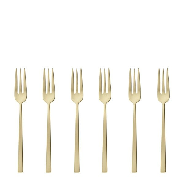 Set 6 Cake fork Rock Antique Stainless steel/ PVD Champagne