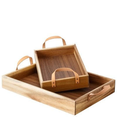 Set of 2 trays Decoration series Holz