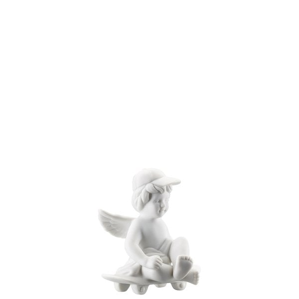 Angel with skateboard Angel small White-mat