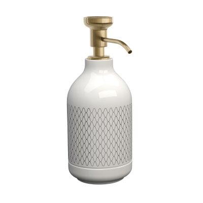 Free standing soap dispenser Equilibrium Netting White Bronze