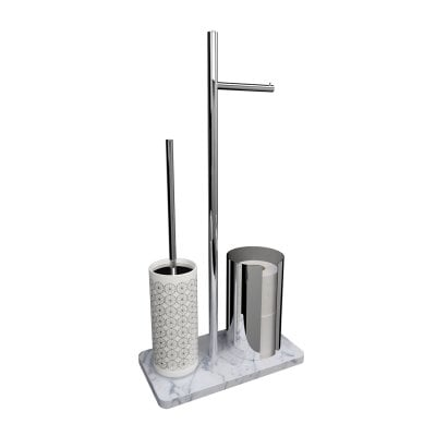 Free standing toilet brush/paper holder Equilibrium Circles White Chrome