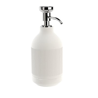 Free standing soap dispenser Equilibrium Ribs White mat Chrome