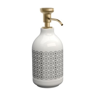 Free standing soap dispenser Equilibrium Circles White Bronze