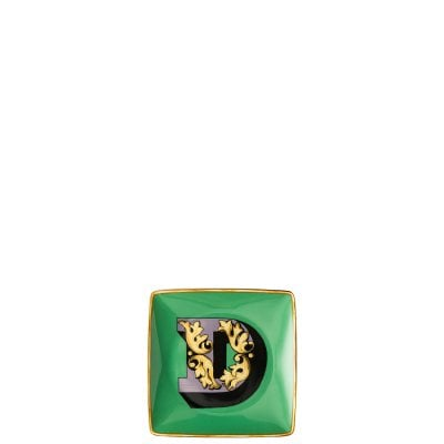 Bowl 12 cm square flat Versace Holiday Alphabet D