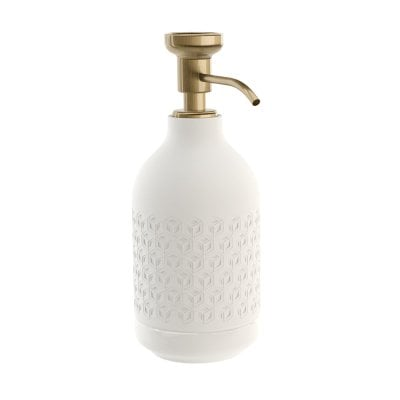 Free standing soap dispenser Equilibrium Hexagon White mat Bronze