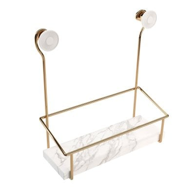 Shower soap dish Equilibrium White mat Gold
