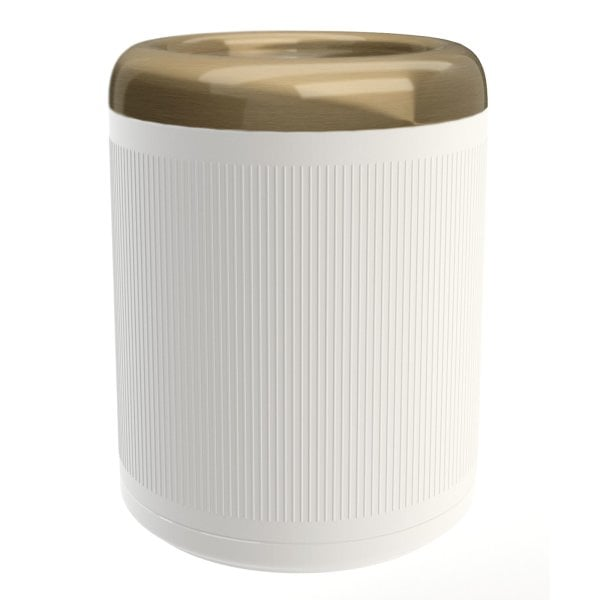 Waste bin Equilibrium Ribs White mat Bronze