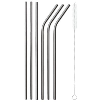 Set 6 pcs straws with brush Mix + Play Edelstahl/PVDschwarz