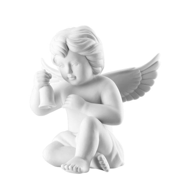 Angel with bell 14 cm Angel big White-mat