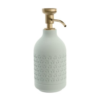 Free standing soap dispenser Equilibrium Hexagon Celadon mat Bronze
