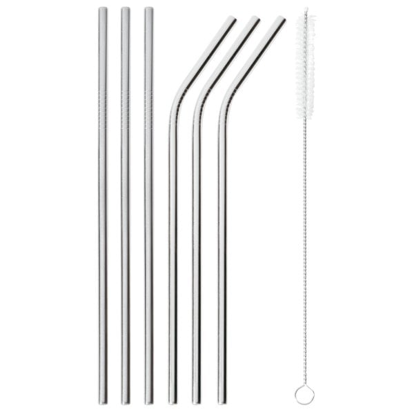 Set 6 pcs straws with brush Mix + Play Stainless steel