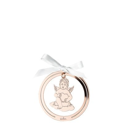 Pendant Angel with heart 8 cm Silver Collection Angels Rose Gold
