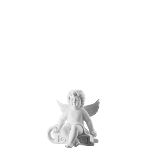 Angel with sleigh 6,5 cm Angel small White-mat