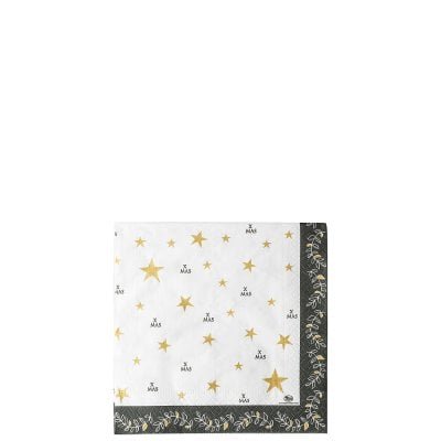 Napkins 33 x 33 cm / 20 pc. Merry Christmas Shiny gold - Sterne