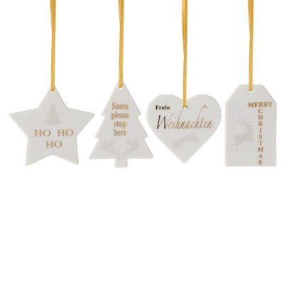 Set 4 Anhänger Formen Merry Christmas Charming grey