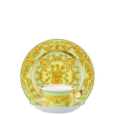 Set plate + cup & saucer / 25 years Versace Green Floralia