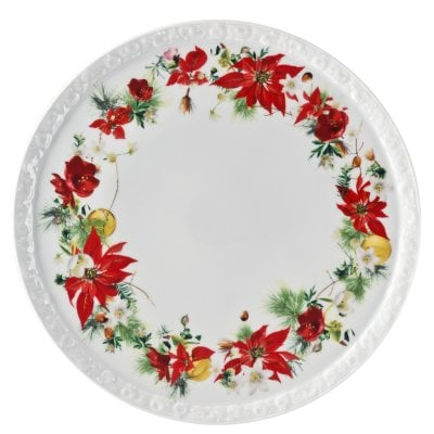 Tart platter on foot large 31,5 cm Maria Winter Rose