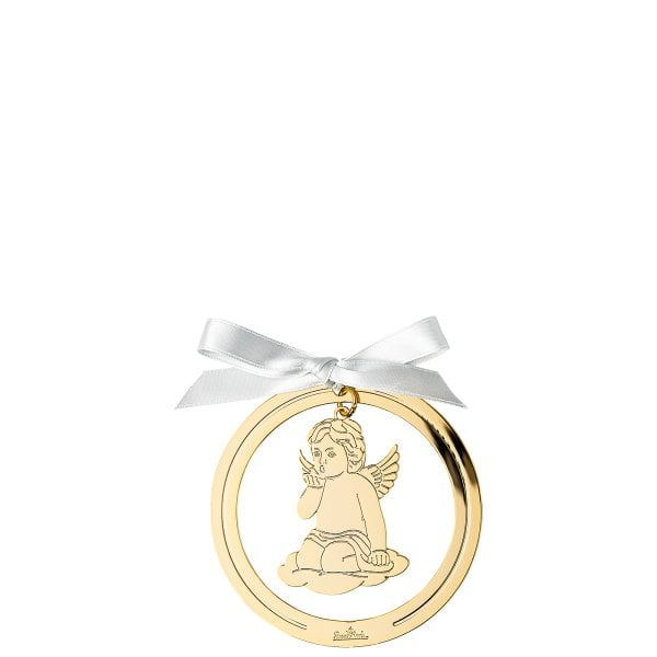 Pendant Angel kiss on hand 8 cm Silver Collection Angels Gold