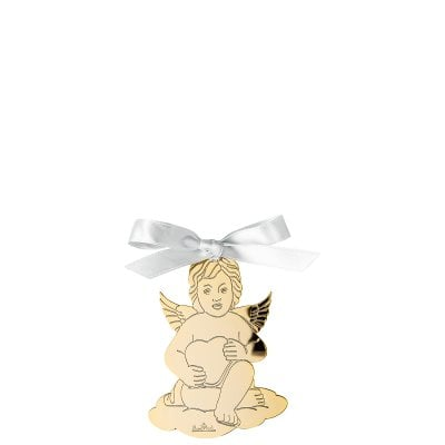 Pendant Angel with heart 8,5x6 cm Silver Collection Angels Gold