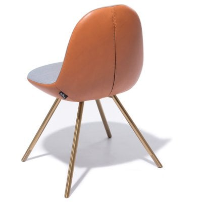 Chaise FIN Orange Blue/Cognac Tissu/Cuir