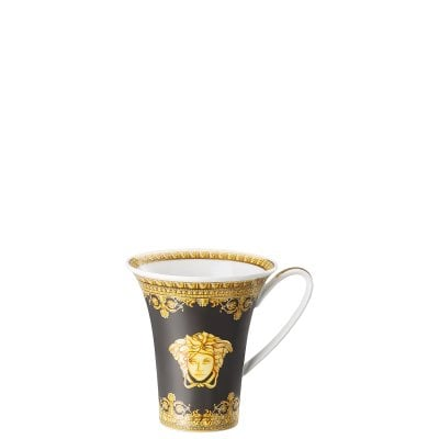 Cup/Saucer 4 tall Versace Baroque Nero