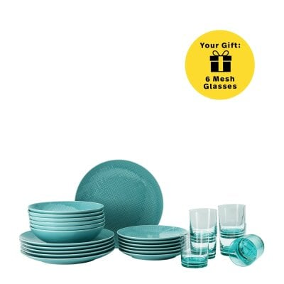 Set 18 pcs./assiette+verre Mesh Colours Aqua