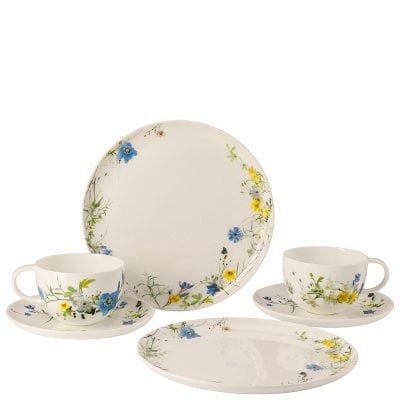 Set 6 pcs. with Combi cups & saucers and coup plates Brillance Fleurs des Alpes