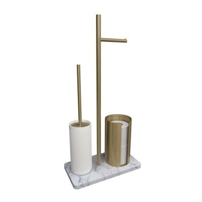Free standing toilet brush/paper holder Equilibrium Ribs White mat Bronze