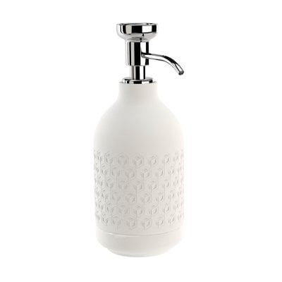Free standing soap dispenser Equilibrium Hexagon White mat Chrome