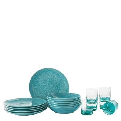Set 12 pcs./plate+glass Mesh Colours Aqua