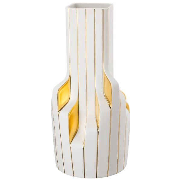 Vase 40 cm Strip White - gold