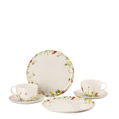 Set 6 pcs. with Combi cups & saucers and coup plates Brillance Fleurs Sauvages