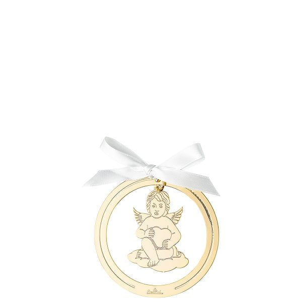 Pendant Angel with heart 8 cm Silver Collection Angels Gold