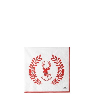 Serviette 33 x 33 cm / 20 pieces Merry Christmas Nordic red - Xmas
