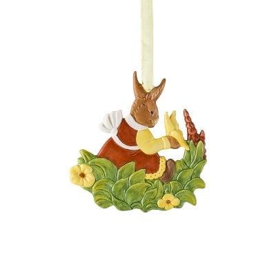 Easter ornament »Lady hare on meadow« Osteranhänger Handbemalt