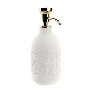 Free standing soap dispenser Equilibrium Hexagon White mat Gold
