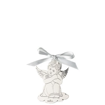 Pendant Angel sitting 8,5x6 cm Silver Collection Angels Silver