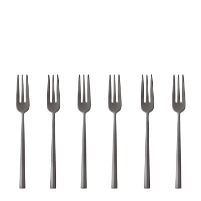Set 6 Cake fork Rock Antique Stainless steel/ PVD 2black