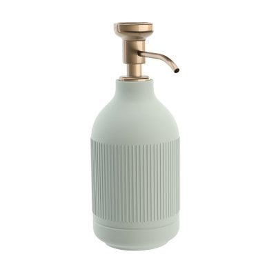 Free standing soap dispenser Equilibrium Ribs Celadon mat Bronze