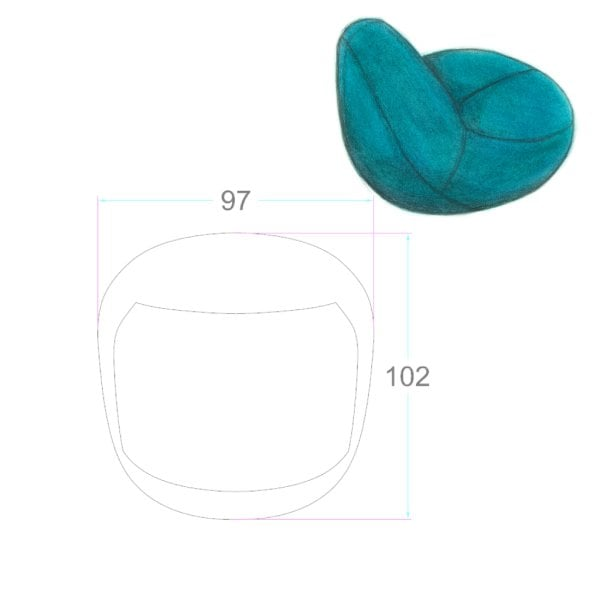 Easy chair SCOOP Aqua Fabric