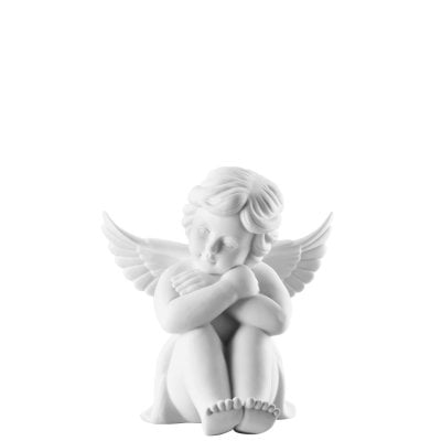 Angel sitting 14 cm Angel big White-mat