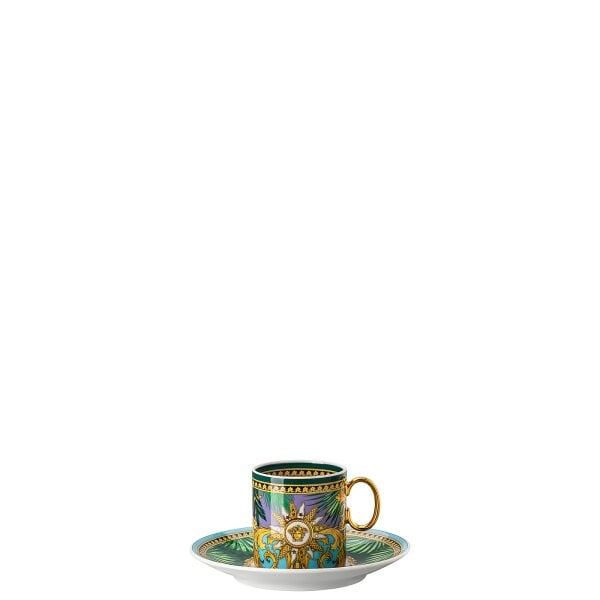 Espresso cup & saucer Versace Jungle Animal.Green