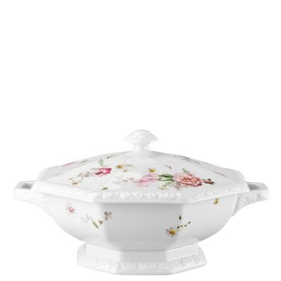 Covered vegetable bowl Maria Pink Rose